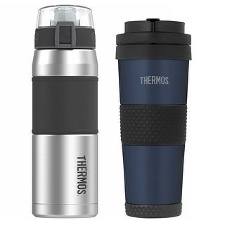 Thermos Vacuum Insulated 24 Oz Hydration Bottle w/ 18 Oz Travel Tumbler