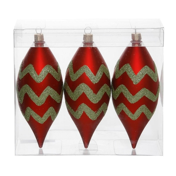 "Pack of 3 Matte Red & Lime Green Glitter Chevron Striped Christmas Teardrop Ornaments 4.75"" (121mm)"