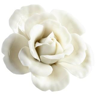 "Cyan Design 09111  Wall Flowers 2-1/2"" x 5"" Botanical Ceramic Wall Decor - Off White Glaze"