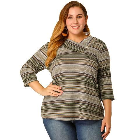 Women's Plus Size Tops V Neck Stripe Boho Knit Tops - Multicolor