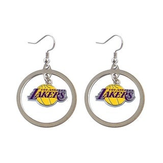 LOS Angeles Lakers Hoop Logo Earring Set NBA Charm Gift Silver