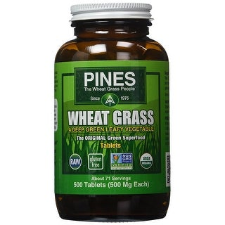 Pines Wheat Grass Tablets - 500 Tablets - Green Superfood - USDA Organic - Leafy Vegetable - Non-Gmo - Raw