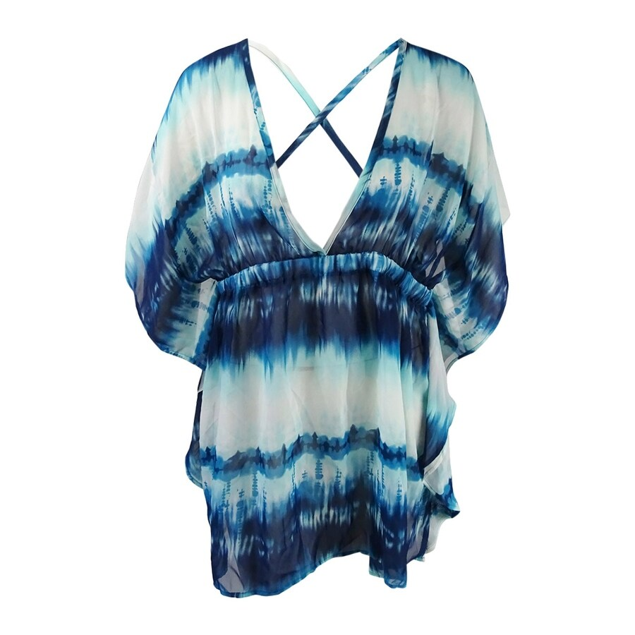 Miken Womens Tie-Dyed Cross-Back Dress Swim Cover-Up - Navy/White