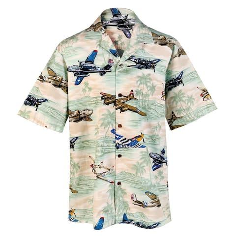 ALOHA REPUBLIC Men's Airplane Camp Shirt, Vintage Air Power Hawaiian Shirt, Tan - Multicolor