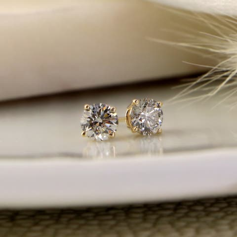 Lab Grown 1 3/8ctw Round Diamond Stud Earrings 4-Prong 14k Gold by Ethical Sparkle