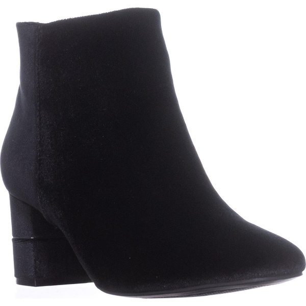 A35 Nickki Block Heel Ankle Booties, Black Velvet