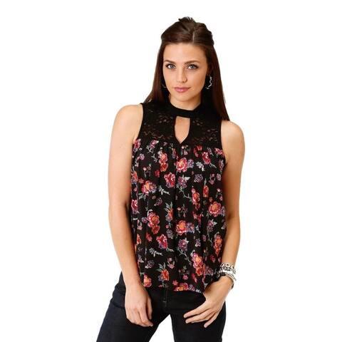 Roper Western Shirt Womens Sleeveless Mock Black