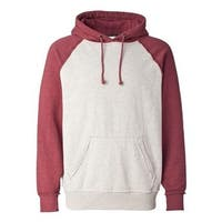J. America Vintage Heather Hooded Sweatshirt - Oatmeal Heather/ Simply Red Heather - S