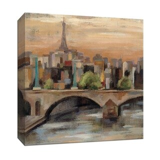 """PTM Images 9-152654  PTM Canvas Collection 12"""" x 12"""" - """"Sunset in Paris I"""" Giclee Eiffel Tower Art Print on Canvas"""