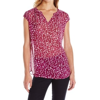 Two By Vince Camuto NEW Purple Womens Size XL Printed Split-Neck Blouse