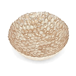 """16"""" Honey Comb Champagne Gold Handcrafted Decorative Fruit Bowl"""
