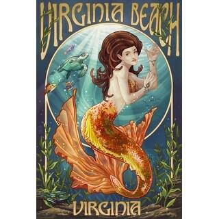 VA Beach, VA - Mermaid - LP Artwork (100% Cotton Tote Bag - Reusable)