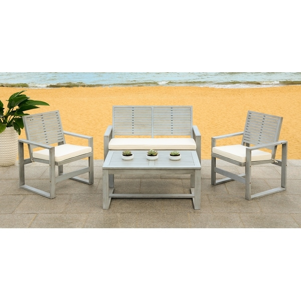 Safavieh Ozark Outdoor 4-Piece Grey Wash Living Set ... on Safavieh Ransin id=93489