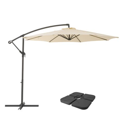 """CorLiving 9.5"""" UV Resistant Warm White Umbrella with Base Weights"""