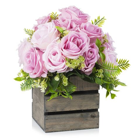 Enova Home 18 Heads Mixed Artificial Silk Roses Fake Flowers Arrangement with Wood Planter for Home Office Wedding Decoration