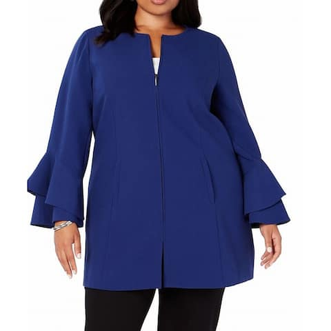 Alfani Women's Jacket Blue Size 3X Plus Ruffle Bell Sleeve Full Zip
