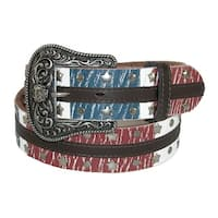 Dan Post Women's Leather American Flag Western Belt with Removable Buckle