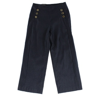 INC NEW Blue Gold Women's Size 4X24 Wide Leg Cropped Dress Pants