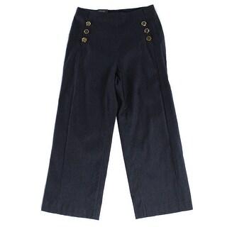 INC NEW Midnight Blue Gold Women's Size 4 Wide Leg Cropped Dress Pants
