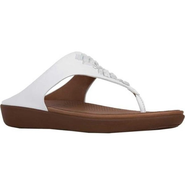 e3152477fdfca FitFlop Women  x27 s Banda II Toe Thong Sandal Urban White Leather Crystal