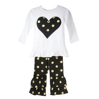 Little Girls Black White Heart Metallic Gold Polka Dots Pant Outfit Set 12M-6
