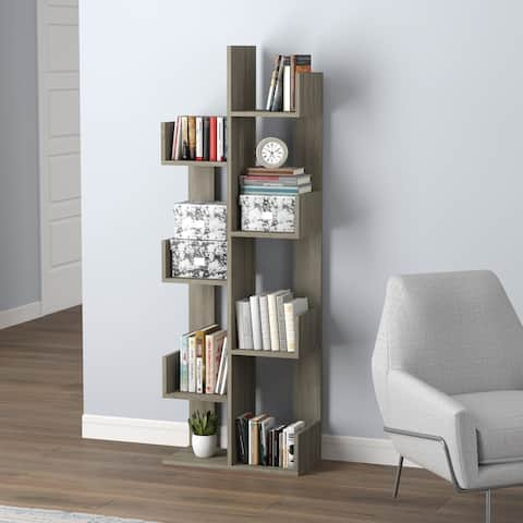 """Wall Shelf 57H Dark Taupe 8 Staggered Shelves Concept - 19'75"""" x 10"""" x 57"""" - 19'75"""" x 10"""" x 57"""""""