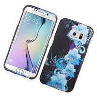 Insten Blue/ Black Flowers Hard Snap-on Rubberized Matte Case Cover For Samsung Galaxy S6 Edge