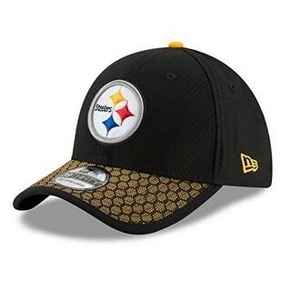 New Era Mens Pittsburgh Steelers 39Thirty Sideline Hat, Black/Gold