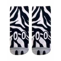 Zebra Photo Print Ankle Socks - Black