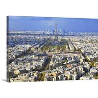 Premium Thick-Wrap Canvas entitled View of Paris with Eiffel Tower and La Defence