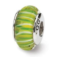 Sterling Silver Reflections Green Hand-blown Glass Bead (4mm Diameter Hole)