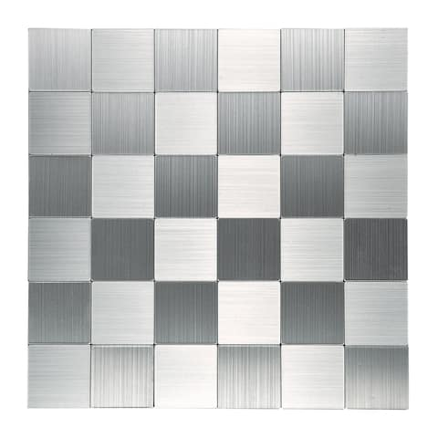 """Art3d 12""""x12"""" Peel and Stick Metal Tile-Middle Aluminum Silver(10-Pack)"""