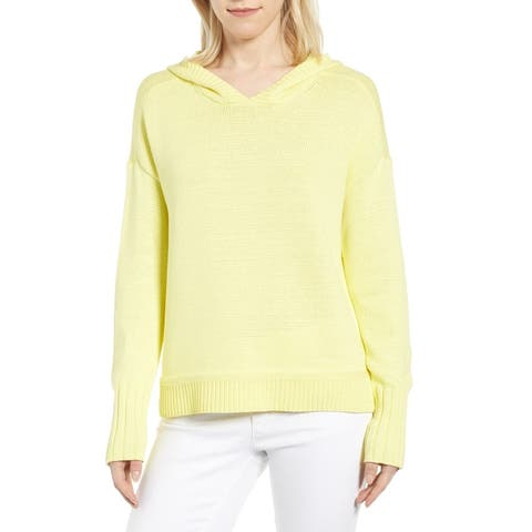 Caslon Womens Hoodie Yellow Size Large L Knit Hooded Ribbed-Trim Stretch