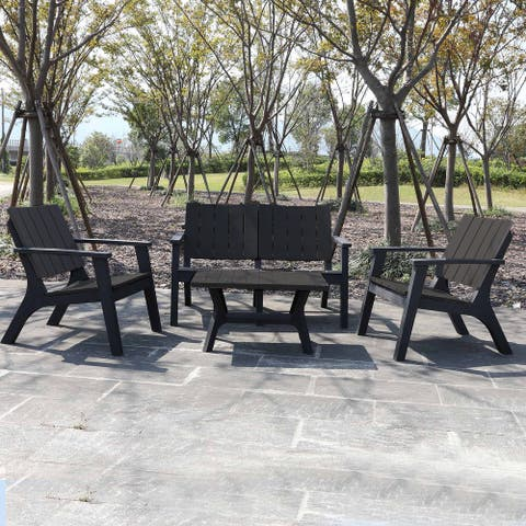 Outsunny 4-Piece Outdoor Patio Sofa Set with Weather-Fighting PP Materials, Adirondack Comfort, & Coffee Table