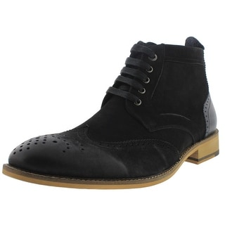 Bugatchi Mens Alta Dress Boots Suede Wingtip