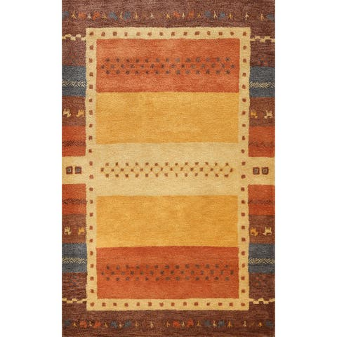"Hand-tufted Tribal Contemporary Gabbeh Oriental Area Rug Wool Carpet - 5'6"" x 8'0"""