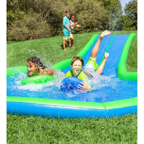 HearthSong 25-ft. Ultimate Dual Water Slide Sprinkler w/ Splash Pool and Speed Boards - one-size