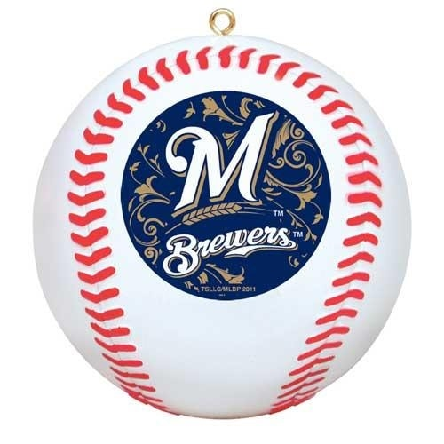 Milwaukee Brewers Mini Replica Baseball Christmas Tree Ornament