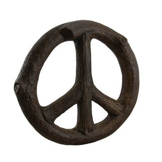 Rustic Tree Branch Wood Look Peace Sign Wall Hanging