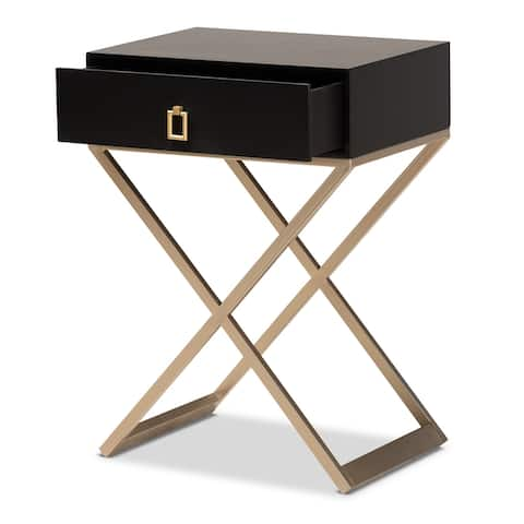 Patricia Modern and Contemporary Black Finished Wood and Powder Coated Brass Effect Metal 1-Drawer Nightstand