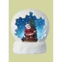 "4"" Battery Operated LED Lighted Santa Claus & Christmas Tree Table Top Domes"