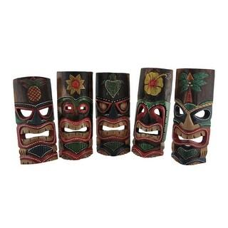 Set of 5 Polynesian Style Wooden Tiki Masks 11 in.