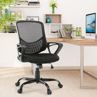 HOME Office Chair, Mid-back Lumbar Support Swivel Computer Mesh Chair