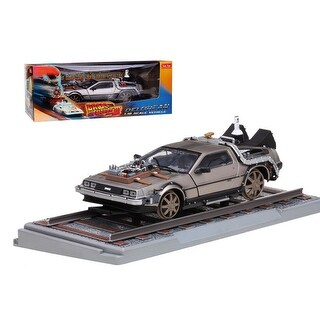 Delorean From Movie Back To The Future 3 Railroad Time Machine 1/18 Diecast Model Car by Sunstar