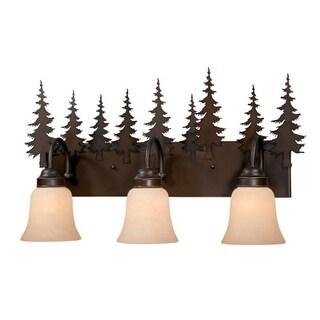 "Vaxcel Lighting VL55503BBZ Yosemite 3 Light 24-3/4"" Wide Bathroom Vanity Light with Tree Accents"
