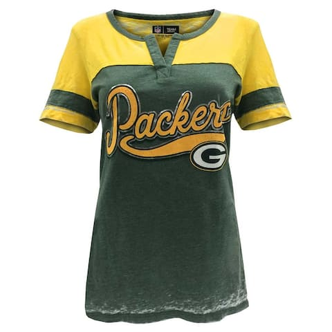 New Era Women's NFL Green Bay Packers Silver Outline Football Tee T-Shirt V-Neck