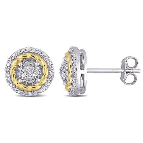 Miadora 2-tone white & Yellow Plated Sterling Silver 1/5ct TDW Diamond Clustered Halo Stud Earrings