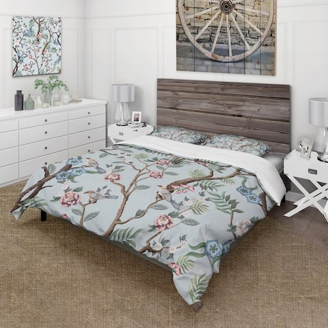 Designart 'Chinoiserie With Birds and Peonies X' Traditional Duvet Cover Set