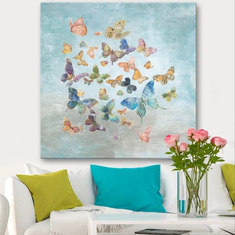 Designart 'Butterflies Dancing I' Wildlife Canvas Artwork Print