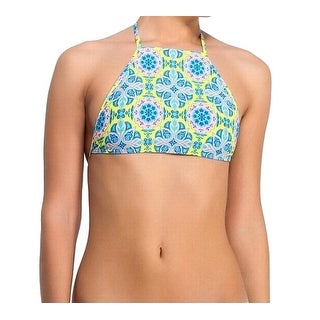 TopShop NEW Blue Green Pink Women's Size 12 Bikini Top Printed Swimwear